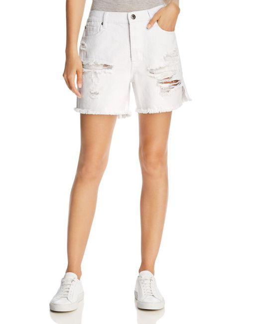Pistola - Devin Mom Cutoff Denim Shorts In White Lies - Lyst