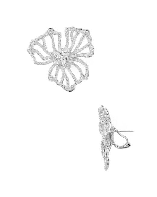 Nadri - Metallic Corsage Large Flower Earrings - Lyst