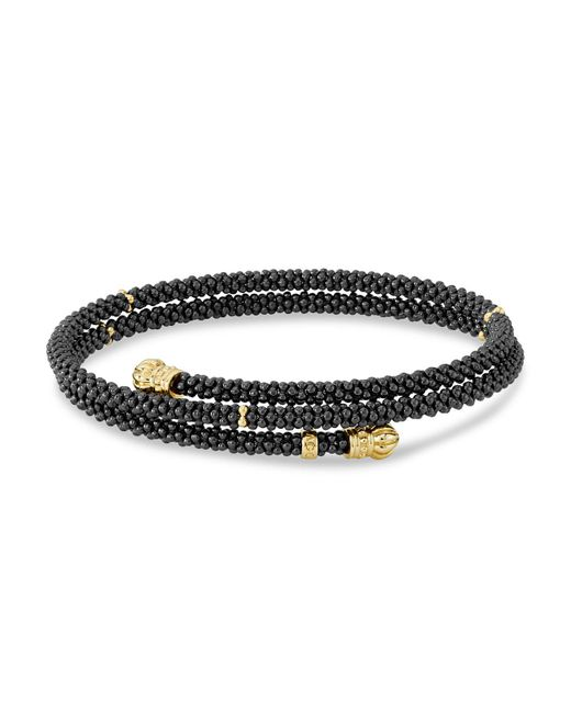 Lagos - Metallic Gold & Black Caviar Collection 18k Gold & Ceramic Coil Bracelet - Lyst
