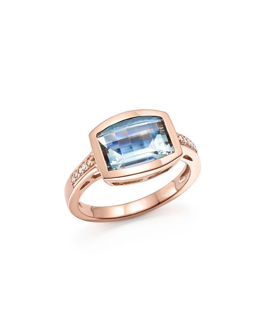 Bloomingdale's - Multicolor Aquamarine And Diamond Statement Ring In 14k Rose Gold - Lyst