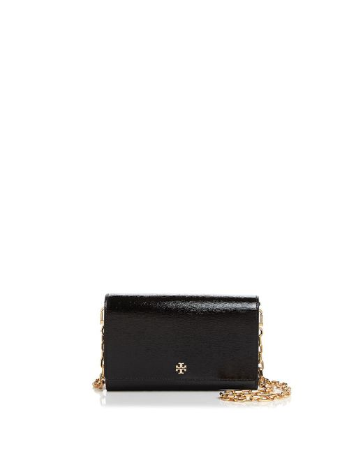 Tory Burch - Black Robinson Patent Leather Chain Wallet - Lyst