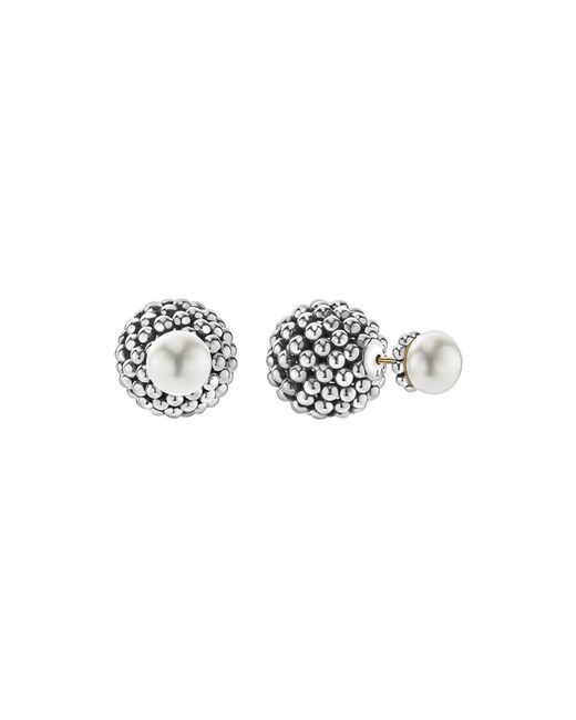 Lagos | Metallic Sterling Silver Signature Caviar Cultured Freshwater Pearl Front-back Earrings | Lyst