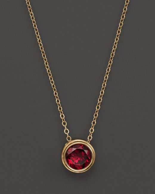 "Bloomingdale's - Metallic Rhodolite Garnet Bezel Set Pendant Necklace In 14k Yellow Gold, 17"" - Lyst"