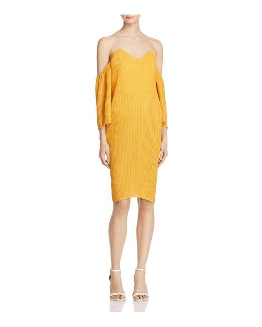 Elliatt | Yellow Marigold Pleated Off-the-shoulder Dress | Lyst