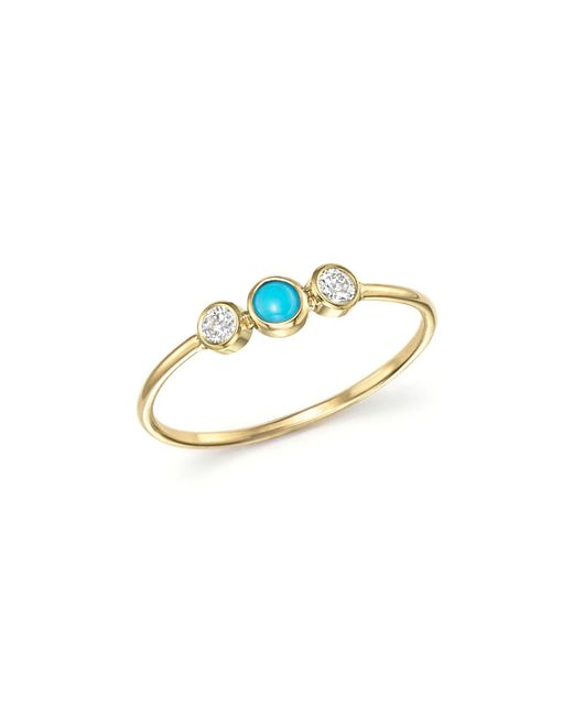 Zoe Chicco - Metallic 14k Yellow Gold Bezel Set Ring With Turquoise And Diamonds - Lyst