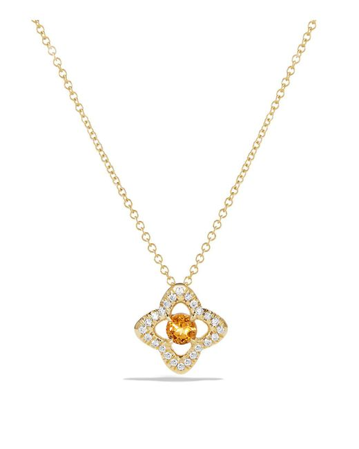 David Yurman | Metallic Venetian Quatrefoil Necklace With Citrine And Diamonds In 18k Gold | Lyst