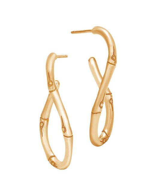 John Hardy - Metallic 18k Yellow Gold Bamboo Twisted Hoop Earrings - Lyst