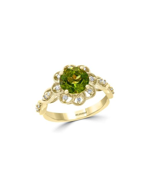 Bloomingdale's - Metallic Peridot & Diamond Flower Ring In 14k Yellow Gold - Lyst
