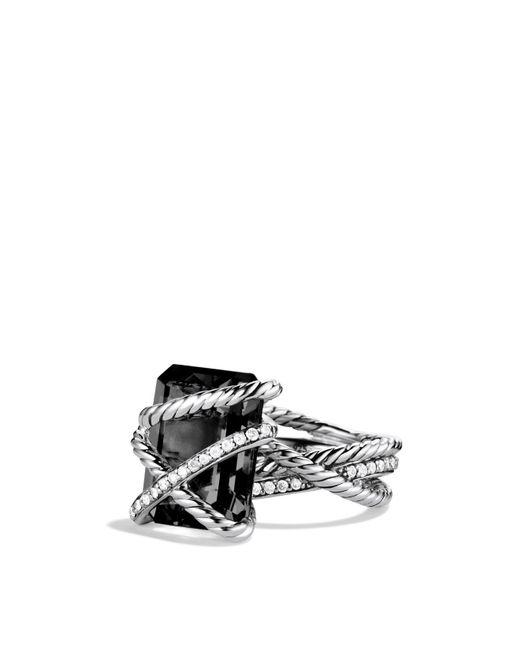 David Yurman | Metallic Cable Wrap Ring With Black Onyx And Diamonds | Lyst