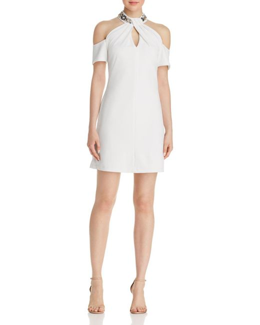 Aqua - White Embellished Cold-shoulder Dress - Lyst