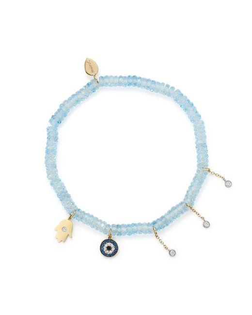 Meira T - 14k White & Yellow Gold Evil Eye & Hamsa Hand Charm Beaded Stretch Bracelet With Blue Topaz & Sapphire - Lyst