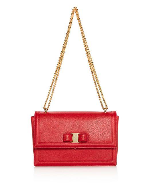 Ferragamo - Red Ginny Medium Saffiano Leather Shoulder Bag - Lyst