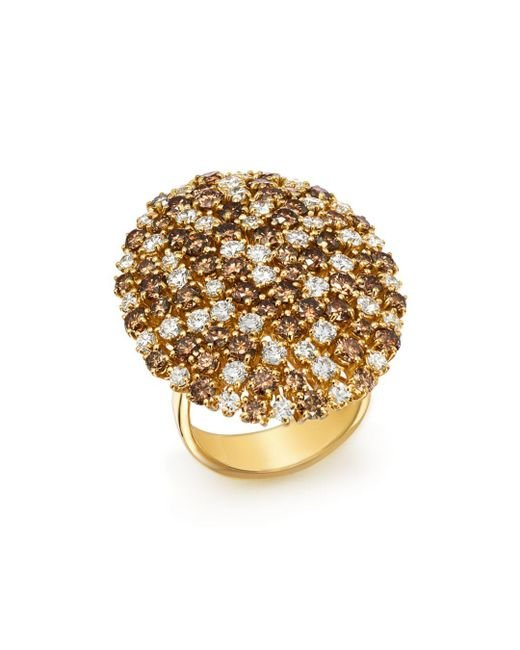 Roberto Coin - Metallic 18k Yellow Gold Brown & White Diamond Cluster Ring - Lyst