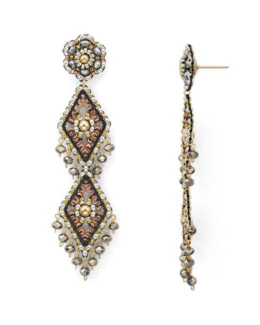 Miguel Ases   Metallic Beaded Earrings   Lyst