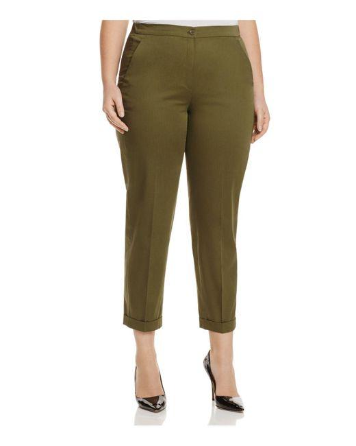 Marina Rinaldi | Green Riflesso Cuffed Ankle Pants | Lyst