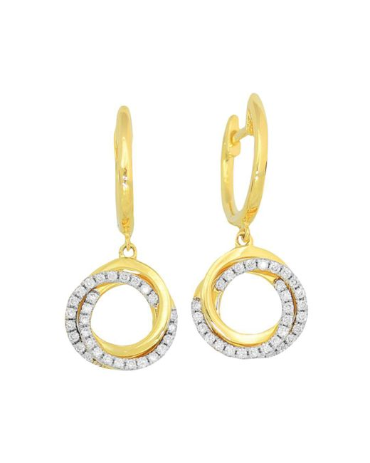 Frederic Sage - Metallic 18k Yellow Gold Flat Triple Halo Diamond Earrings - Lyst