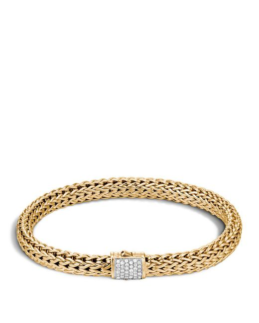 John Hardy - Metallic Classic Chain 18k Gold Medium Bracelet With Diamond Pavé - Lyst