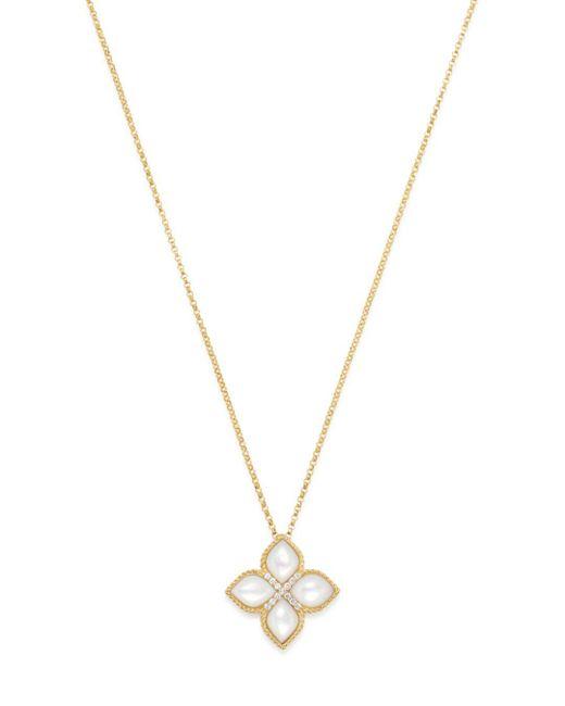 Roberto Coin - Metallic 18k Yellow Gold Venetian Princess Mother - Of - Pearl & Diamond Pendant Necklace - Lyst