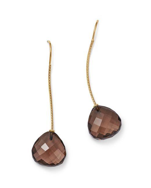 Bloomingdale's - Metallic Smoky Quartz Wire Drop Earrings In 14k Yellow Gold - Lyst
