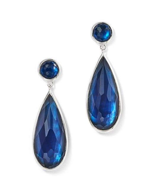 Ippolita - Blue Sterling Silver Rock Candy® Wonderland Elongated Snowman Earrings In Midnight - Lyst