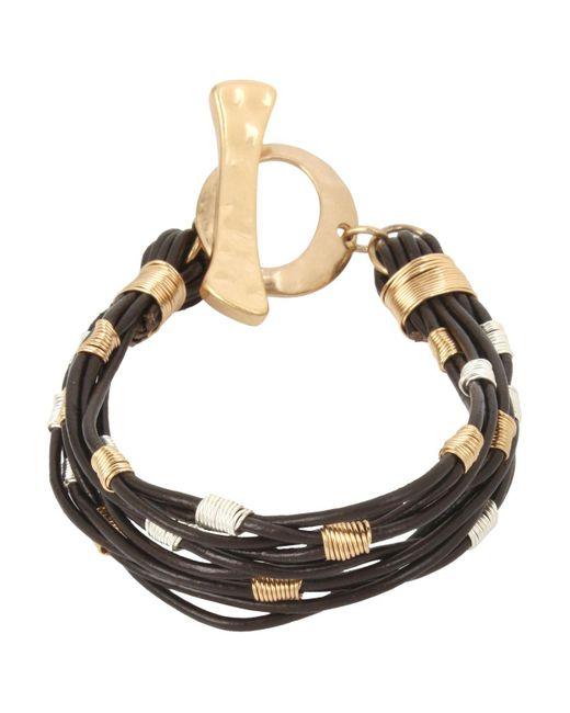 Robert Lee Morris | Metallic Two-tone Wire Wrap Leather Toggle Bracelet | Lyst