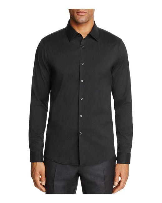 Michael Kors | Black Stretch Cotton Slim Fit Button-down Shirt for Men | Lyst