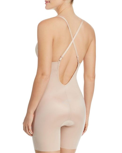 ... Spanx - Natural Suit Your Fancy Plunge Low-back Mid-thigh Bodysuit -  Lyst ... 549a789fe