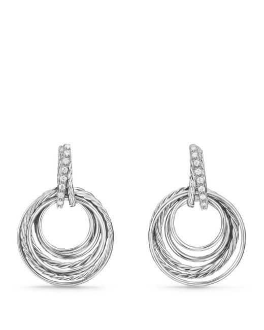 David Yurman - Metallic Crossover Drop Earrings With Diamonds - Lyst