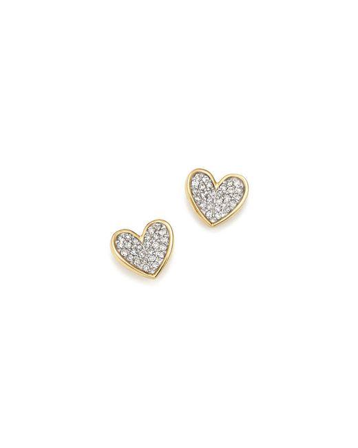 Adina Reyter - Metallic 14k Yellow Gold Tiny Pavé Diamond Folded Heart Stud Earrings - Lyst