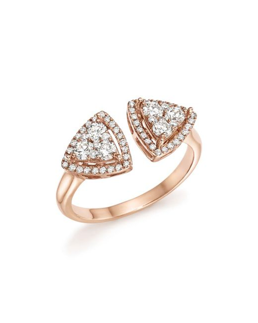 Bloomingdale's - Multicolor Diamond Geometric Open Cluster Ring In 14k Rose Gold, .65 Ct. T.w. - Lyst