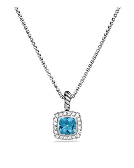 David Yurman - Petite Albion Pendant With Blue Topaz And Diamonds On Chain - Lyst