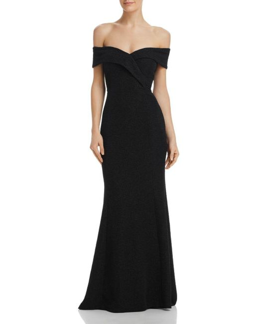 Eliza J - Black Shimmering Off-the-shoulder Gown - Lyst