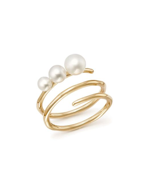 Ippolita - Metallic 18k Yellow Gold Nova Cultured Freshwater Pearl Spiral Ring - Lyst