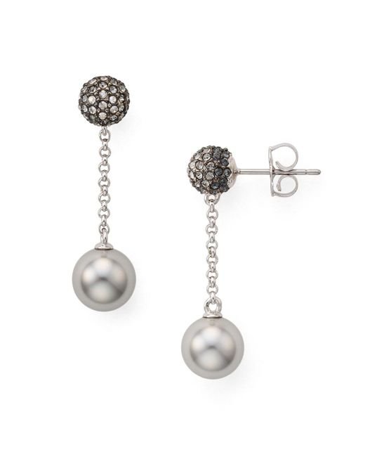 Nadri - Gray Pavé Drop Earrings - Lyst