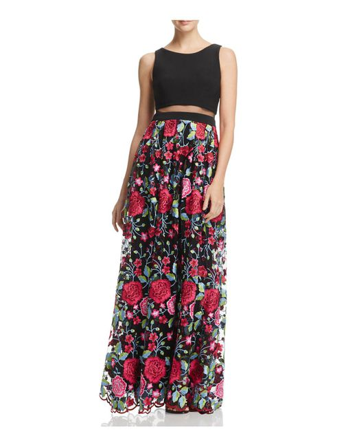 Betsy & Adam | Black Illusion-waist Floral-print Gown | Lyst
