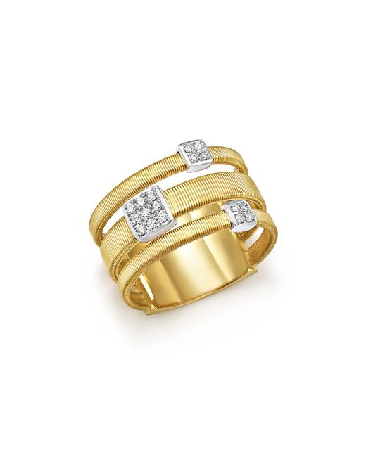Marco Bicego | Metallic 18k White And Yellow Gold Masai Three Row Pavé Diamond Ring | Lyst