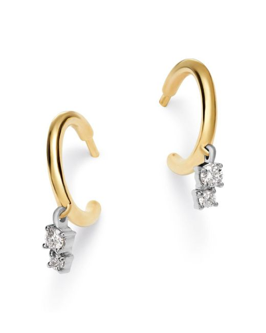 Adina Reyter - Metallic 14k Yellow Gold & Sterling Silver Amigos Diamond Charm Huggie Hoop Earrings - Lyst