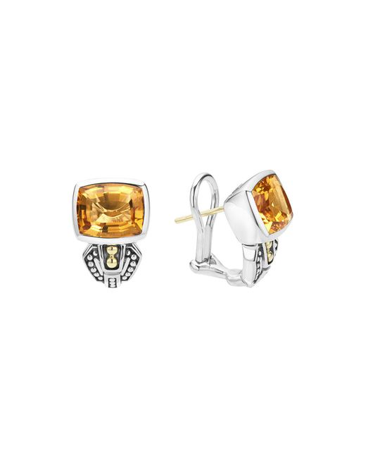 Lagos | Metallic 18k Gold And Sterling Silver Caviar Color Citrine Huggie Drop Earrings | Lyst