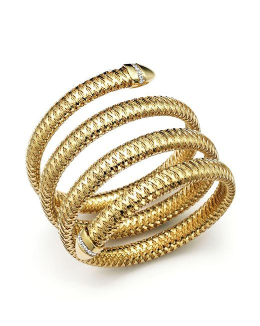 Roberto Coin | Metallic Primavera 18k Yellow And White Gold Flex Diamond Bracelet | Lyst