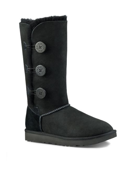 Ugg | Black Bailey Button Triplet Sheepskin Mid Calf Boots | Lyst