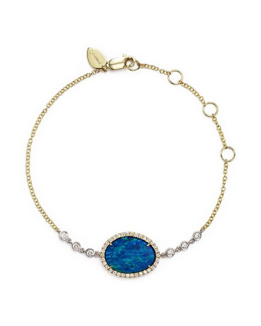 Meira T - Blue 14k Yellow Gold And White Gold Opal Bracelet With Diamonds - Lyst