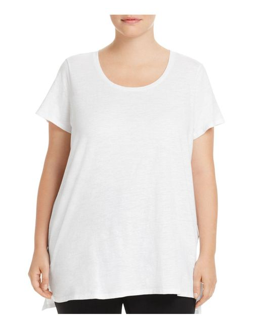 Eileen Fisher | White High-low Tunic Tee | Lyst