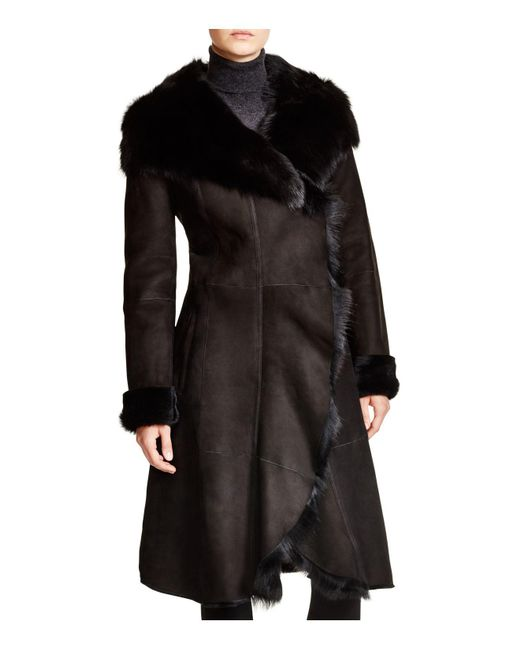 Maximilian - Black Maximilian Shearling Coat With Toscana Collar - Lyst