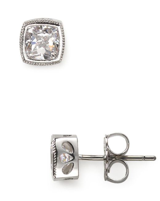 Nadri - Metallic Cushion Cut Stud Earrings - Lyst