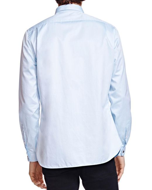 f7840051661 The Kooples Twill Trim Fit Shirt in Blue for Men - Save 20% - Lyst