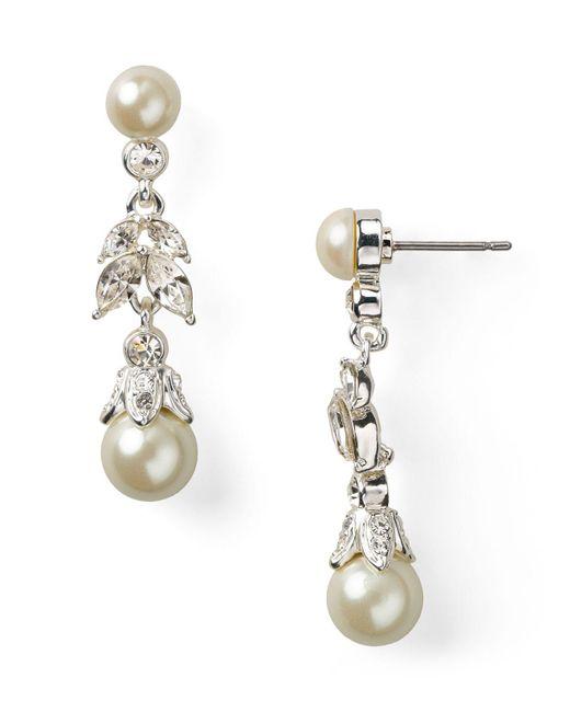 Carolee | Metallic Linear Pearl Teardrop Earrings | Lyst