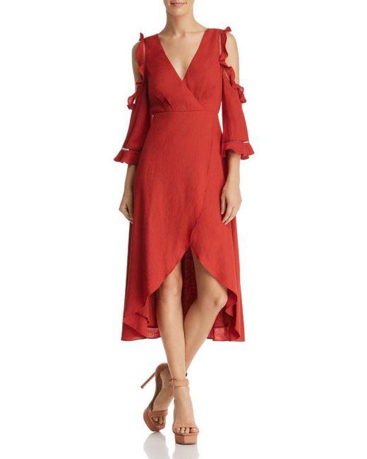 Aqua - Red Cold-shoulder Faux-wrap High/low Dress - Lyst