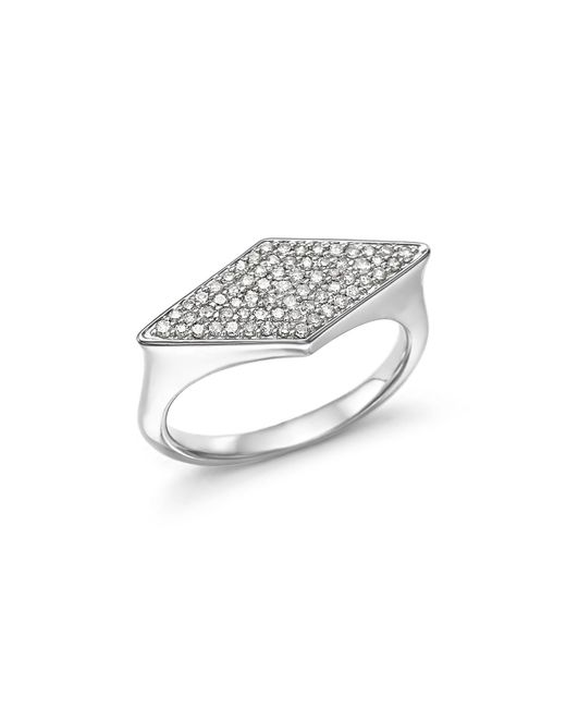 Adina Reyter | Metallic Sterling Silver Pavé Diamond Stretched Diamond Signet Ring | Lyst