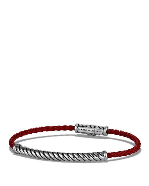 David Yurman - Cable Leather Bracelet In Red - Lyst