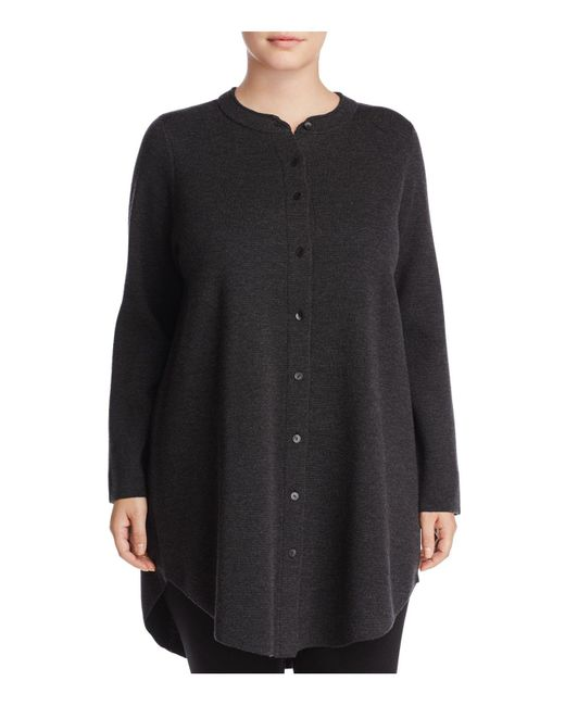 Eileen Fisher | Gray Mandarin Collar Merino Wool Cardigan | Lyst